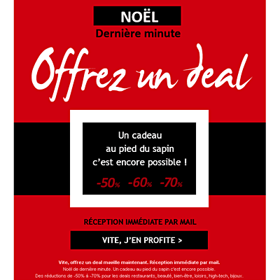 Portfolio - Emailing marketing Deals par Frédérique Celeste - Opération Noël
